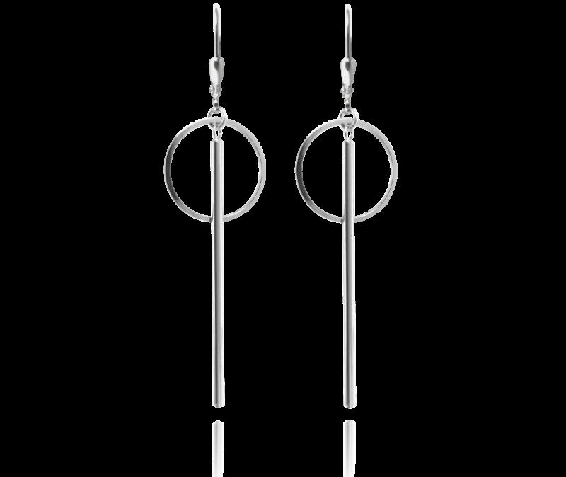 Asymetrické stříbrné náušnice MINET KROUŽKY