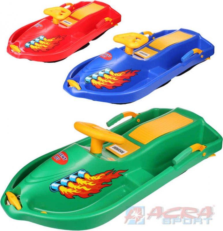ACRA Boby dětské s volantem SNOW BOAT se 2 brzdami pro 2 osoby 3 barvy plast