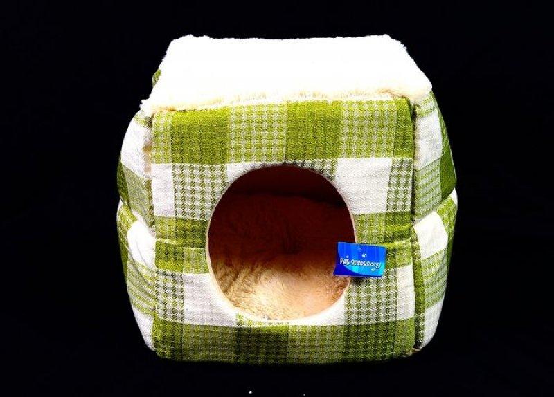 Zelenobéžový pelech / bouda - 35x35 cm
