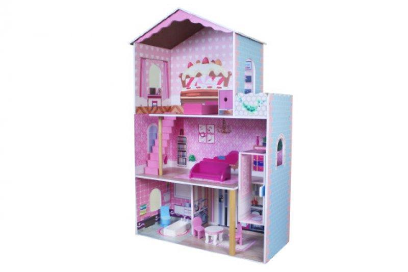 Bino Dřevěný dětský domeček pro panenky s výtahem a nábytkem