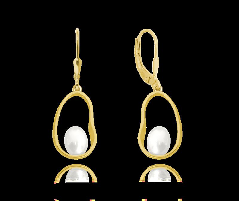Pozlacené stříbrné oválné náušnice s perlou