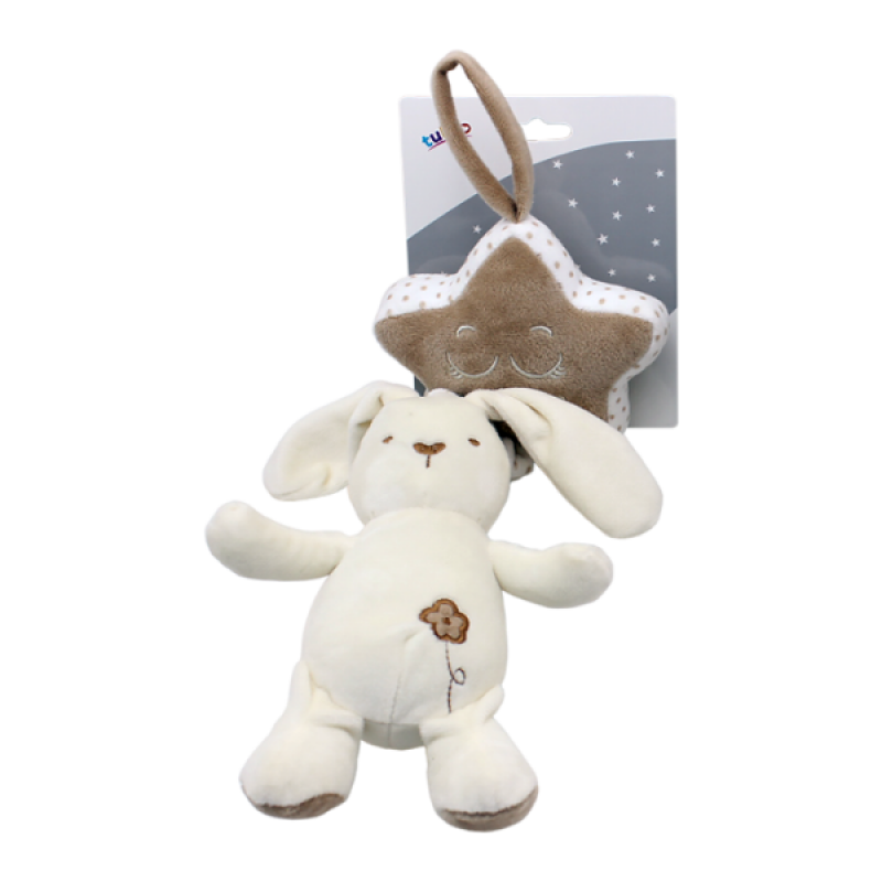 Závěsná plyšová hračka Tulilo s melodií Králíček, 35 cm - smetanový, K19
