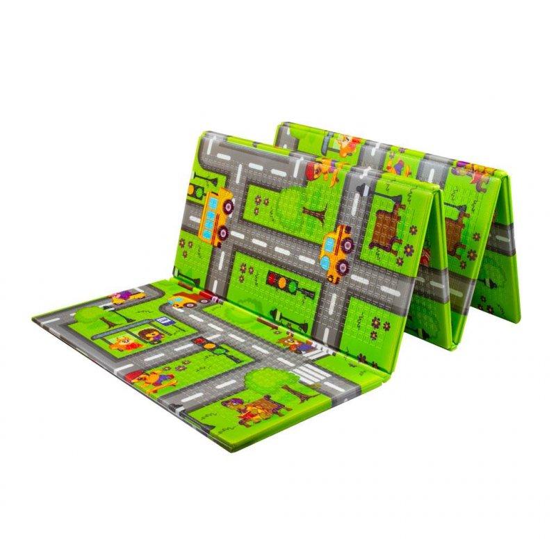 Multifunkční skládací hrací podložka PlayTo - Cesta - zelená
