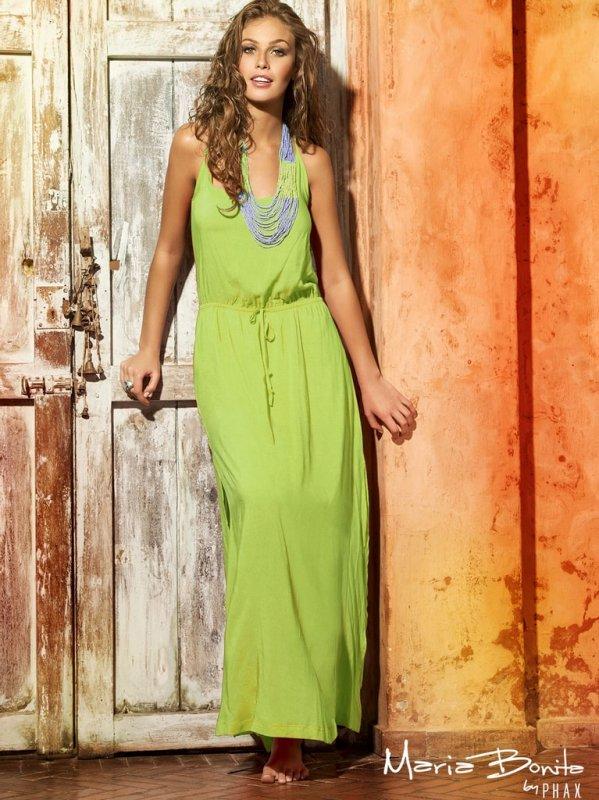 Dlouhé letní šaty na ramínka PHAX zelené - M