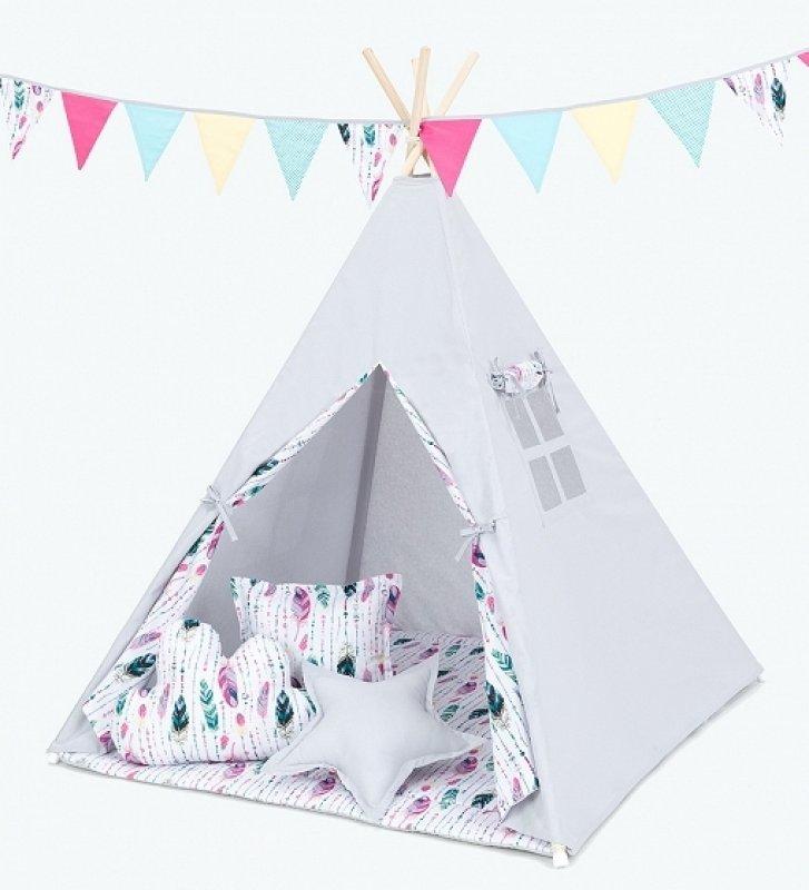 Mamo Tato Stan pro děti teepee, týpí bez výbavy - šedý / barevné pírko