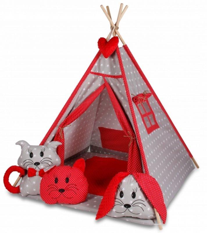 Baby Nellys Stan pro děti týpí s velkou výbavou - šedý, červený