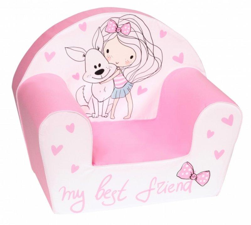Delsit Dětské křesílko, pohovka - Holčička s pejskem, světle růžové