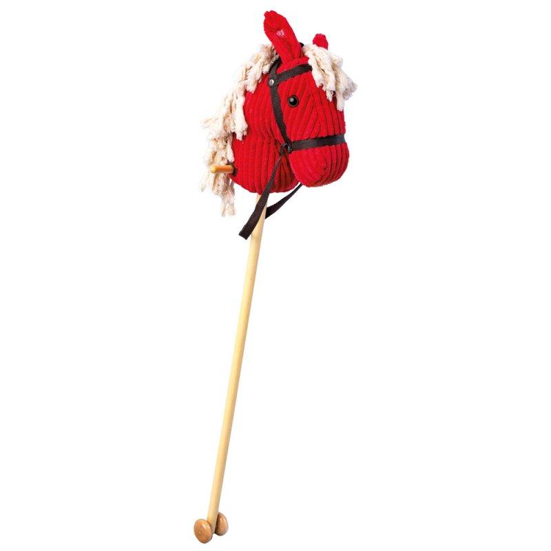 Koňská hlava na tyči červený manšester