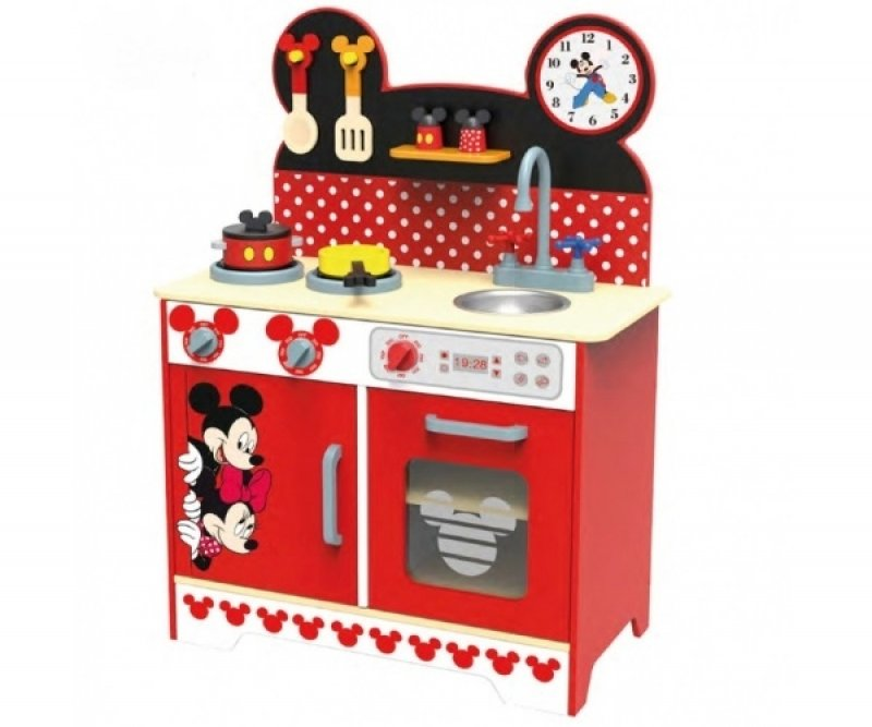 Dřevěná kuchyňka Disney, Mickey a Minnie, 60 x 30 x 85 cm