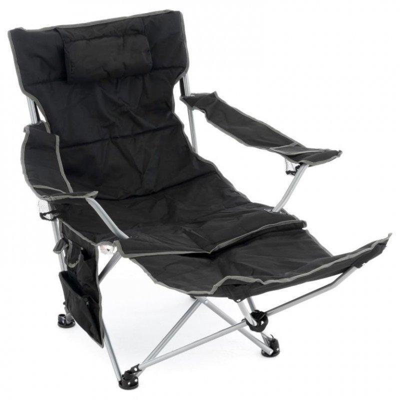 Kempingová židle s odnímatelnou podnožkou, černá