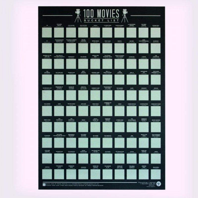 Stírací plakát 100 nejlepších filmů - Bucket list