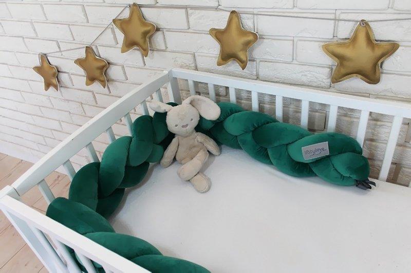 Mantinel Baby Nellys pletený cop velvet - tmavě zelená
