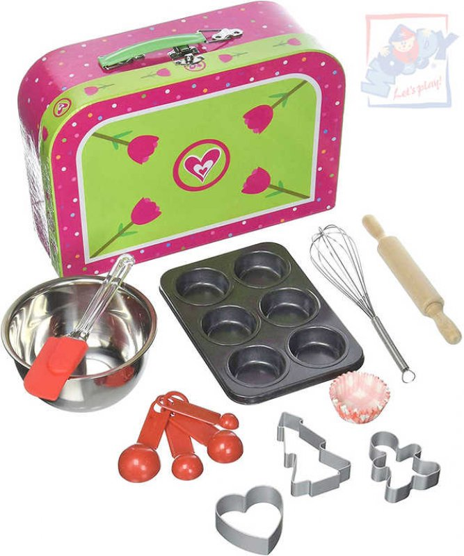 WOODY Pečeme muffiny kuchyňský dětský set s nástroji a košíčky v kufříku