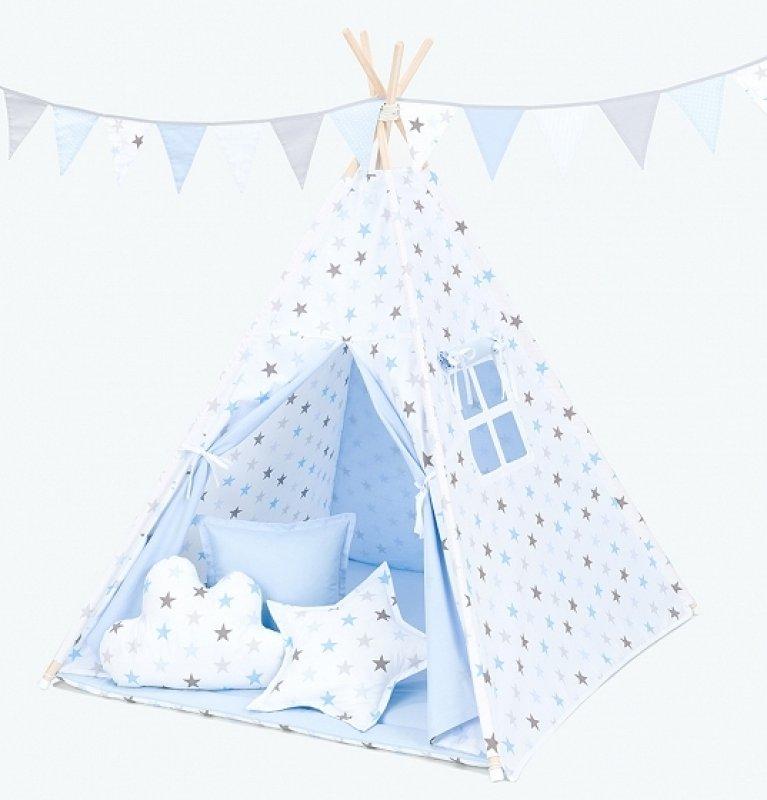 Mamo Tato Stan pro děti teepee, týpí s výbavou - hvězdy šedé a modré/světle modrý