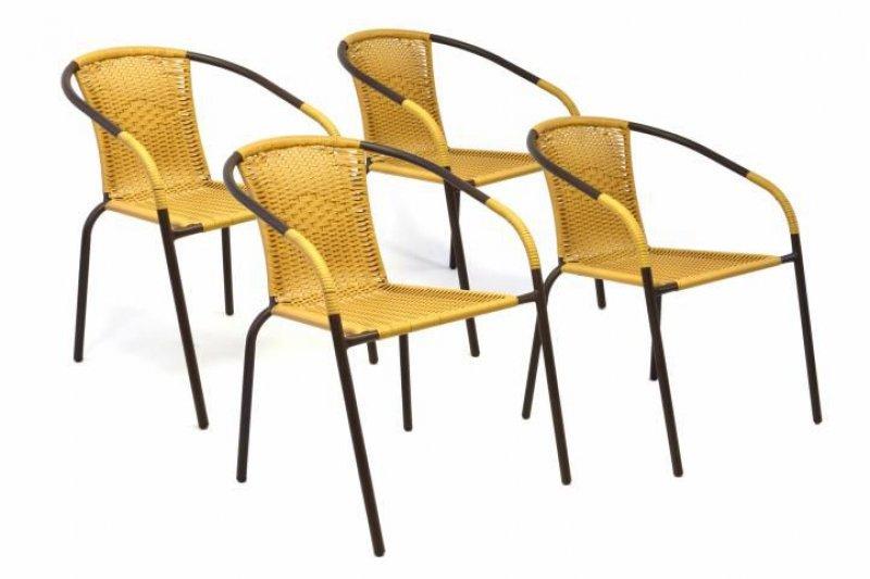 Sada 4 kusů zahradních židlí s výpletem - béžová