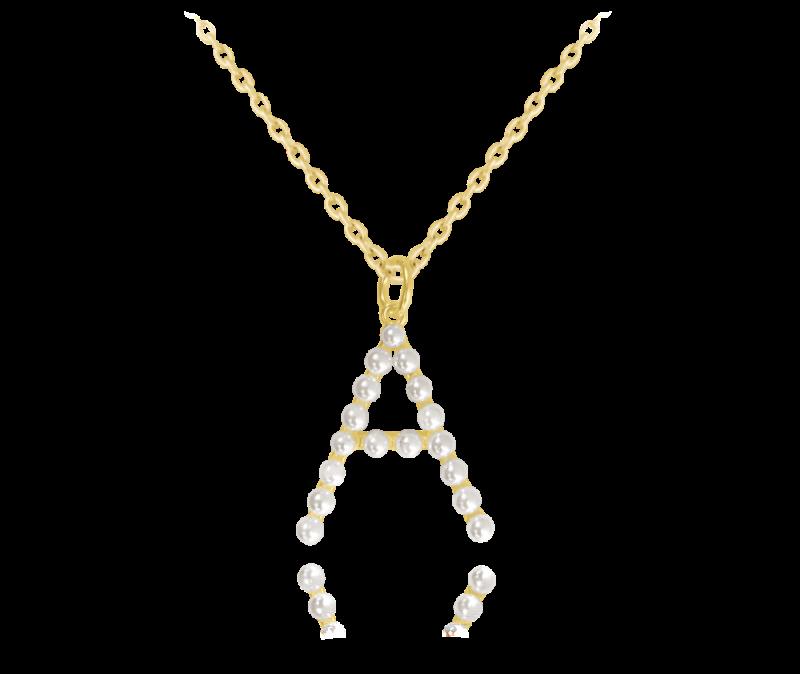 """Pozlacený stříbrný náhrdelník MINET písmeno """"A"""" s perličkami"""