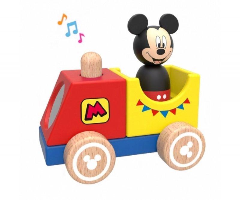 Dřevěný Disney vláček s Mickeym, 12x8x12 cm