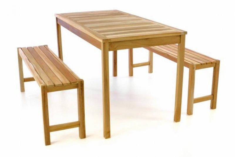 Zahradní set lavic a stolu DIVERO - neošetřené týkové dřevo - 135 cm