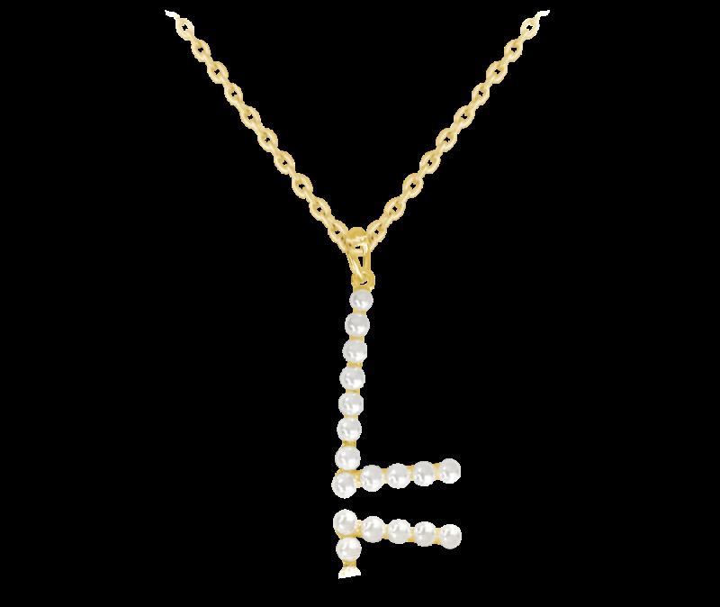 """Pozlacený stříbrný náhrdelník MINET písmeno """"L"""" s perličkami"""