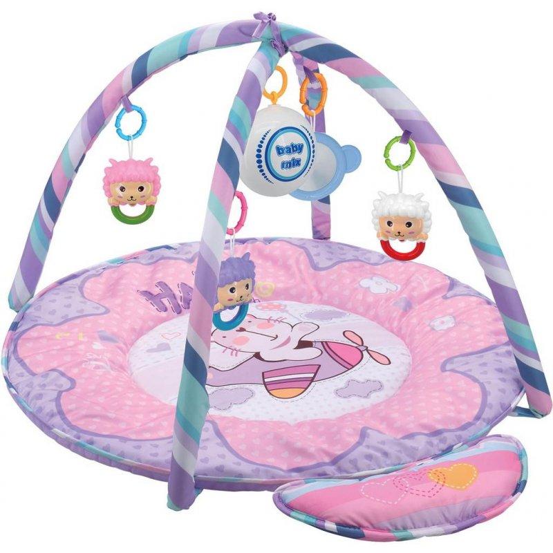 Hrací deka s hracím modulem Baby Mix medvídek - růžová