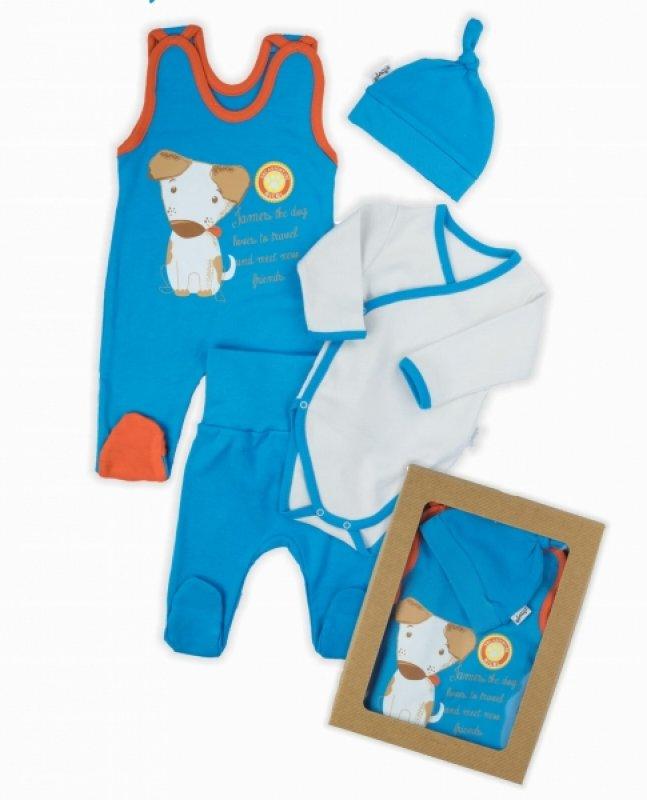 NICOL Komplet oblečení Dog - 4 dílný - modrý - 56 (1-2m)