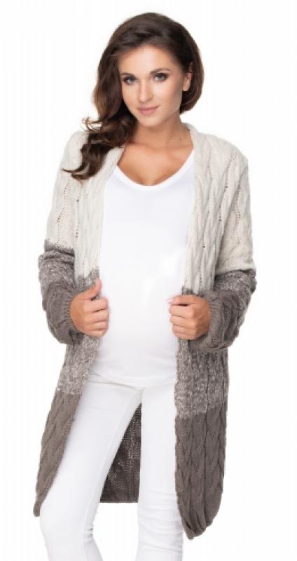 Be MaaMaa Těhotenský kardigan/svetr - moca/béžový, copánkový vzor - UNI