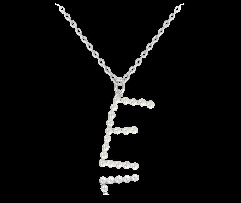 "Stříbrný náhrdelník písmeno ""E"" s perličkami"