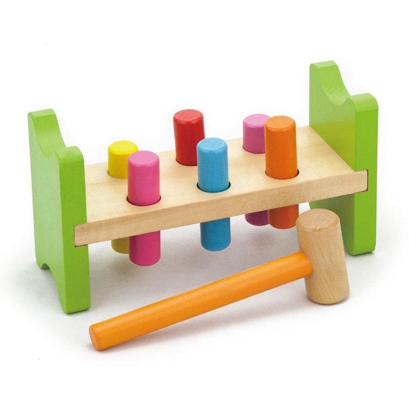 Dřevěná zatloukačka pro nejmenší Viga - multicolor