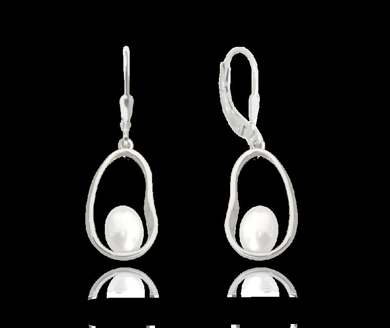 Stříbrné oválné náušnice se sladkovodní perlou