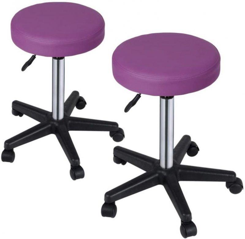 Sada stoliček na kolečkách, 2 ks, fialové