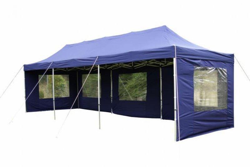 Zahradní skládací párty stan PROFI - modrý, 3 x 9 m