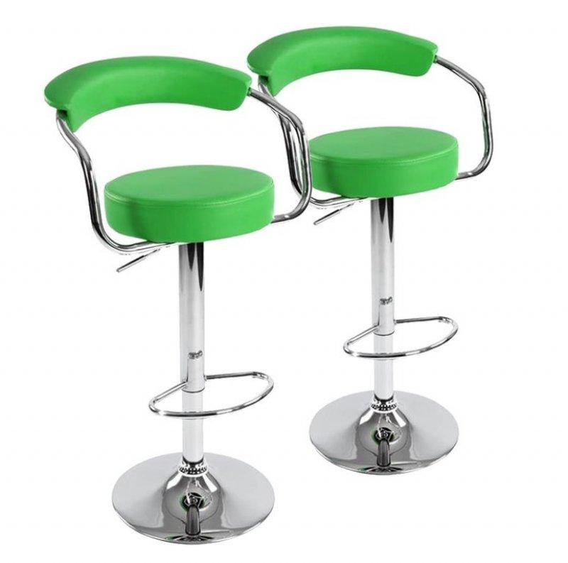 Sada barových židlí 2 ks, zelená, 53 x 105 x 52 cm