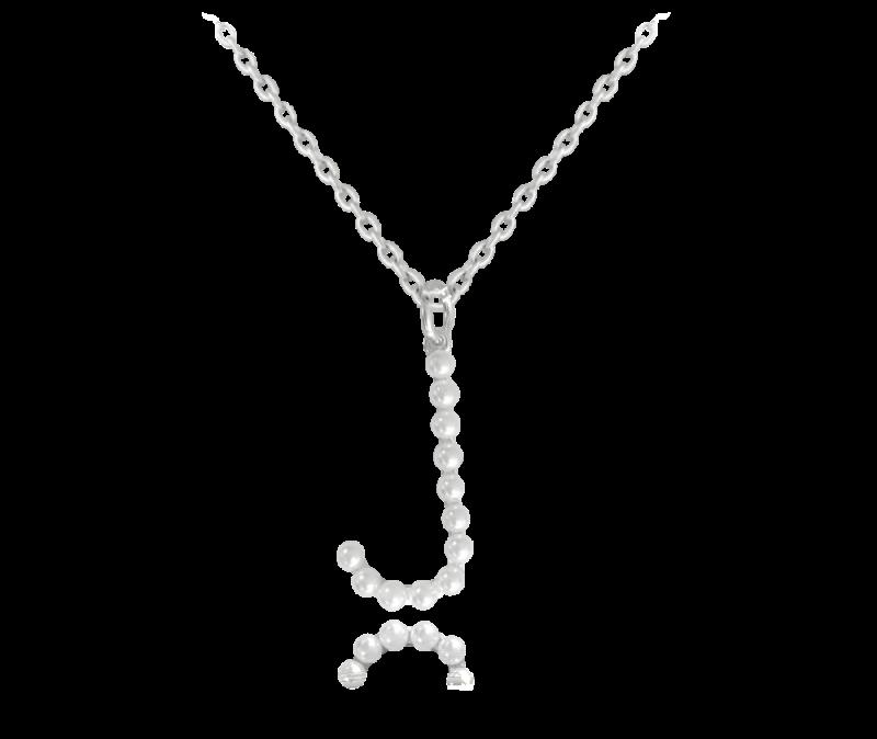 """Stříbrný náhrdelník písmeno """"J"""" s perličkami"""