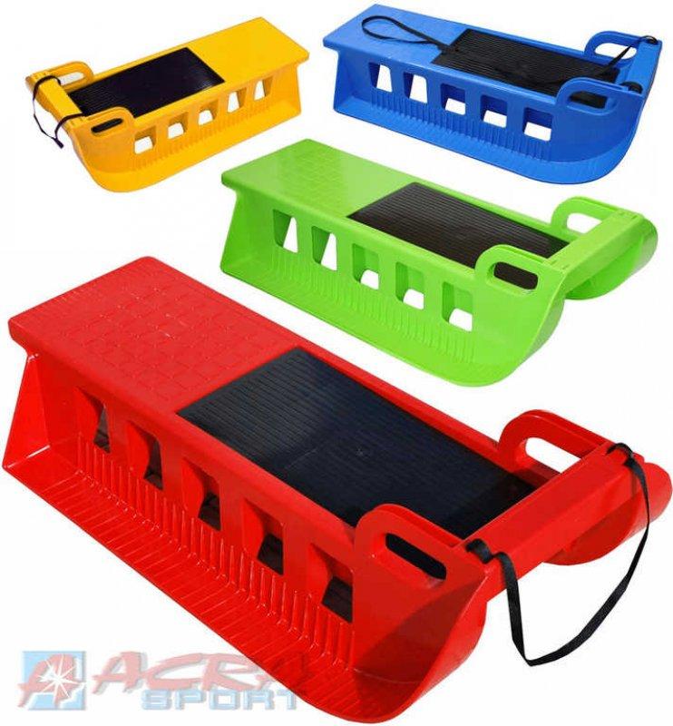 ACRA Sáňky dětské (sáně) plastové KAMZÍK s popruhem úložný prostor 4 barvy