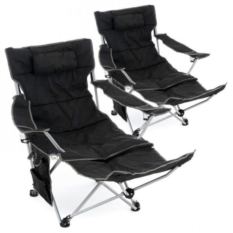 Sada 2 ks kempingových židlí s odnímatelnou podnožkou, černá