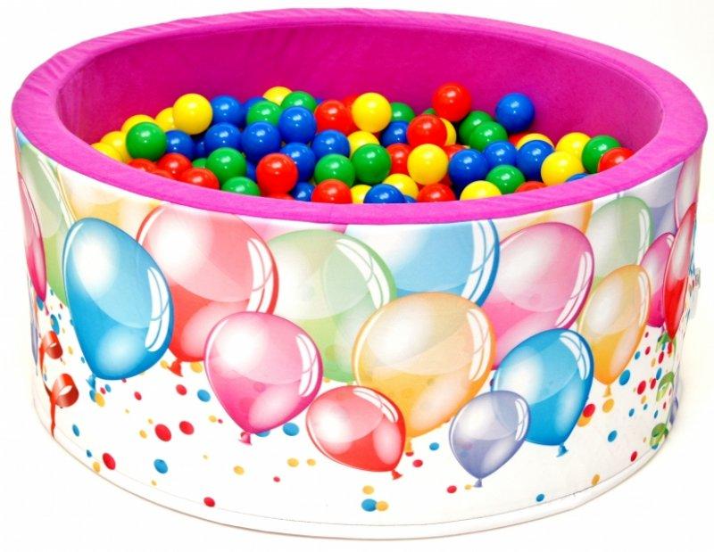 NELLYS Bazén pro děti 90x40cm kruhový tvar + 200 balónků - růžový s balónky, Ce19