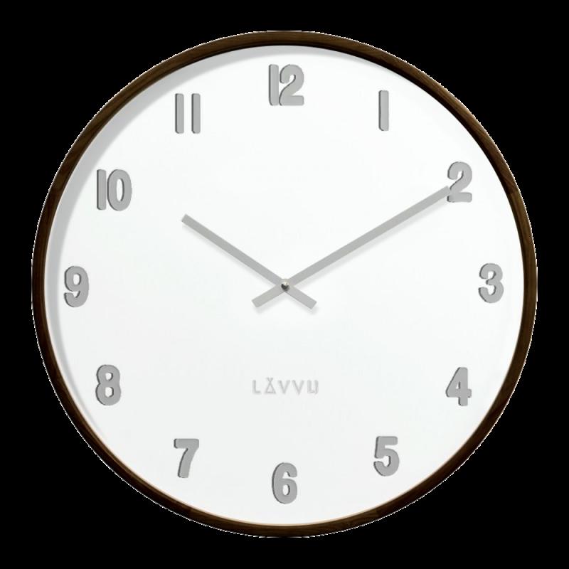 Tmavé dřevěné bílé hodiny LAVVU FADE