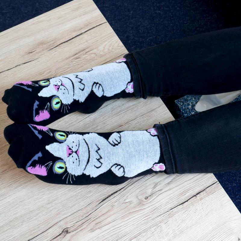 Veselé ponožky s kočičkou - černé