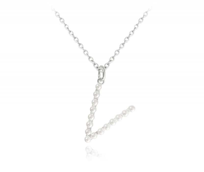 """Stříbrný náhrdelník písmeno """"V"""" s perličkami"""