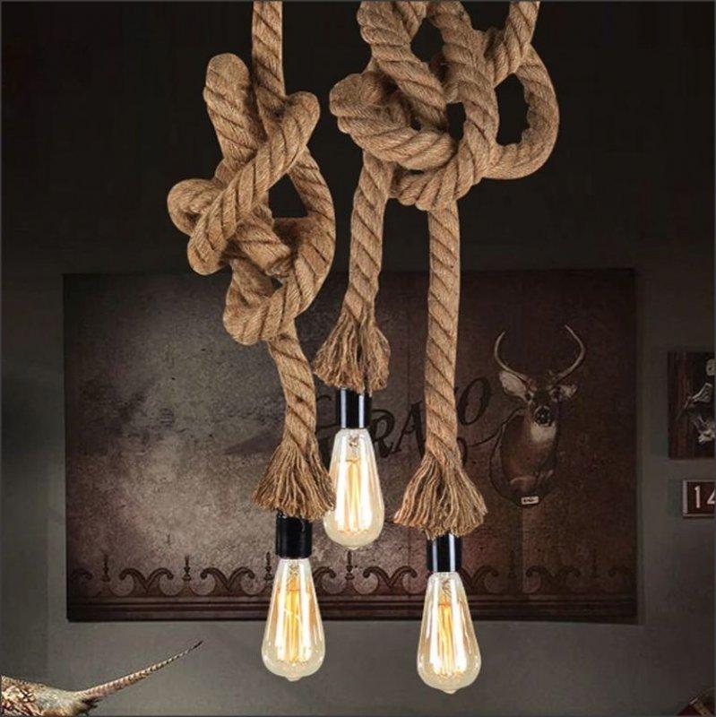 Závěsná designová lampa z provazu