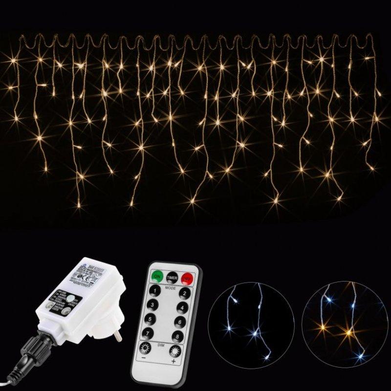 Vánoční světelný déšť - 5 m, 200 LED, teple bílý + ovladač