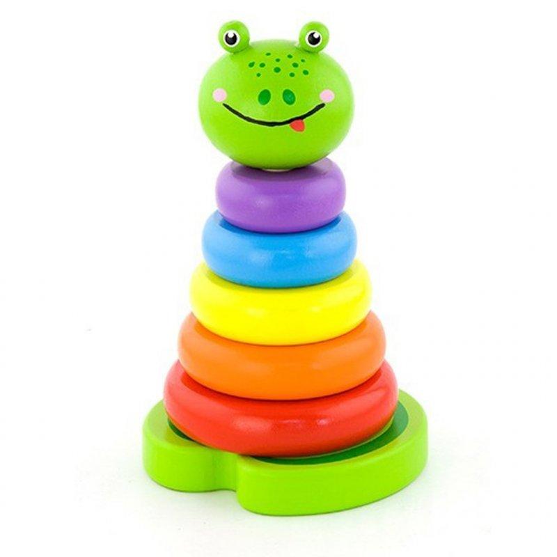Dřevěná skládací pyramida pro nejmenší Viga Žába - multicolor