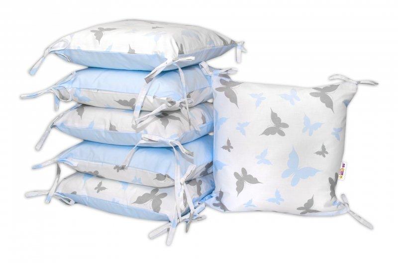Bavlněný polštářkový mantinel Baby Nellys, Motýlci - modrý