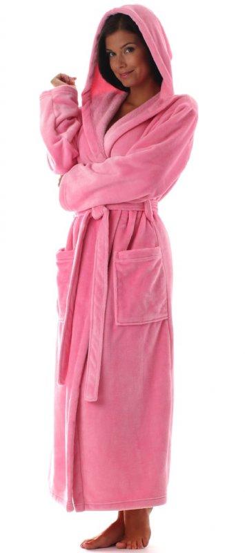 Dámský župan dlouhý s kapucí VESTIS Siena 31563151 růžový s kapucí - S