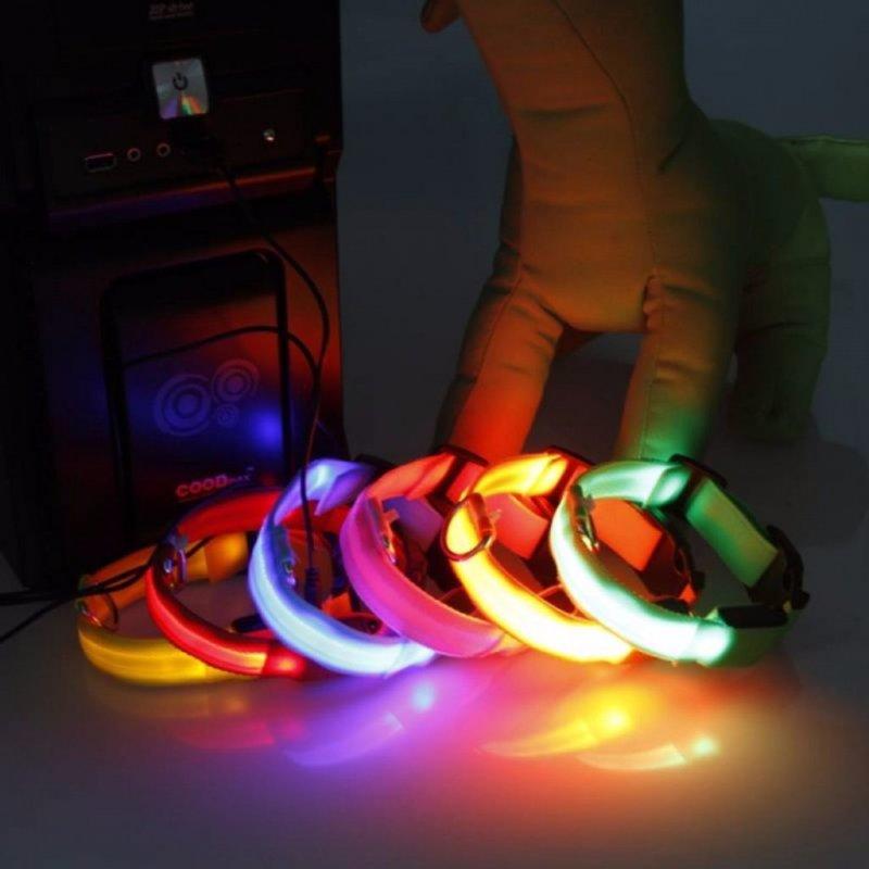 Reedog USB svíticí obojek pro psy a kočky NEW - Červená 35 - 43 cm