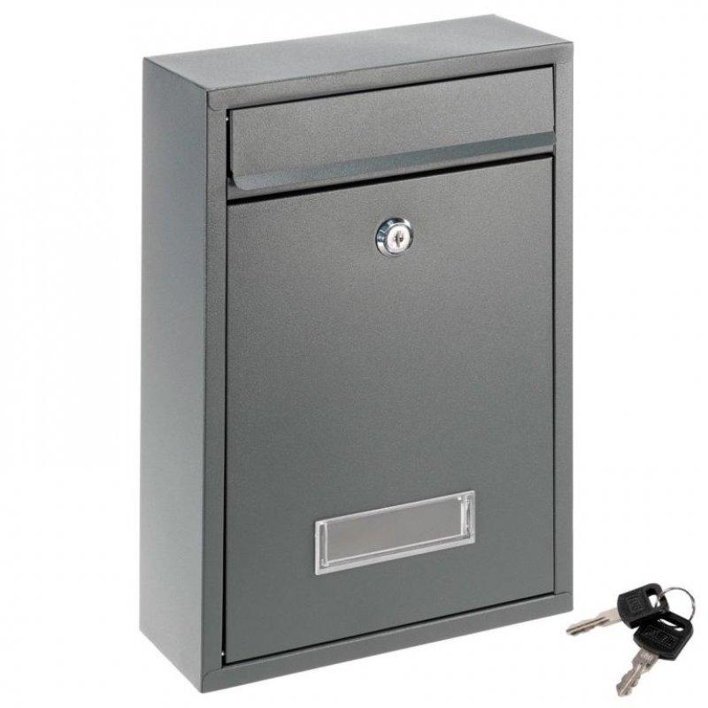 Poštovní nástěnná schránka ELI, ocelová, antracit, 2 klíče