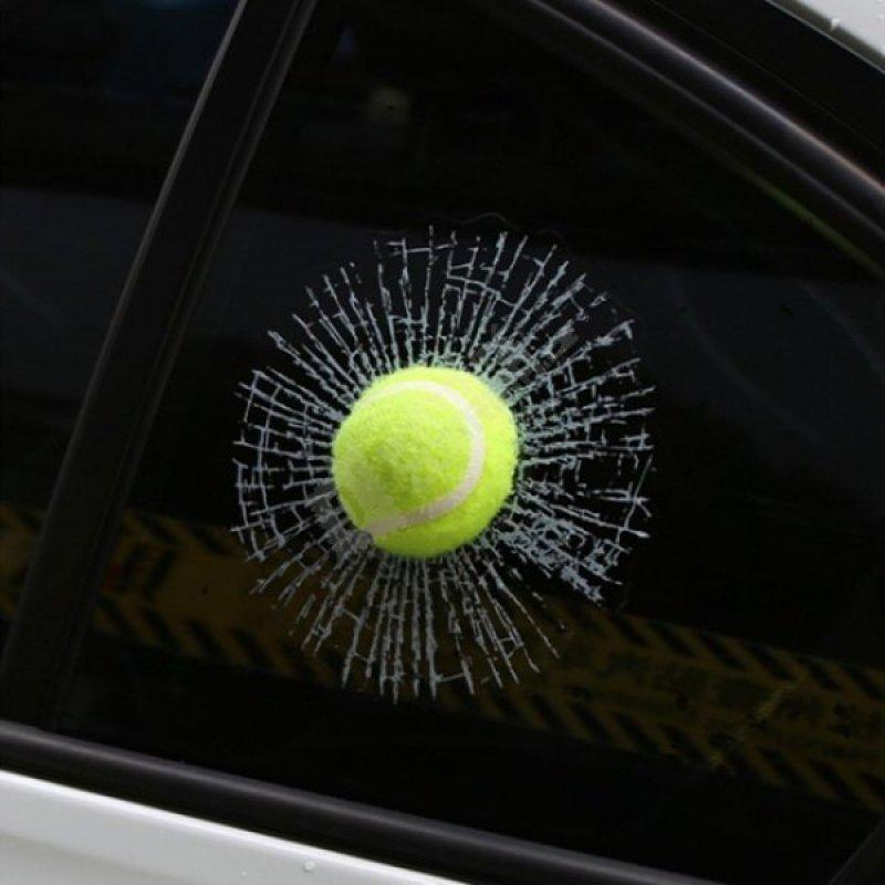 3D Samolepka - rozbité sklo - Tennisový míček