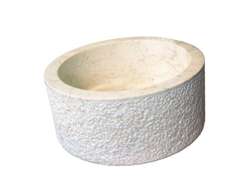 Umyvadlo z přírodního kamene MIRUM 509 Ø45 cm Cream