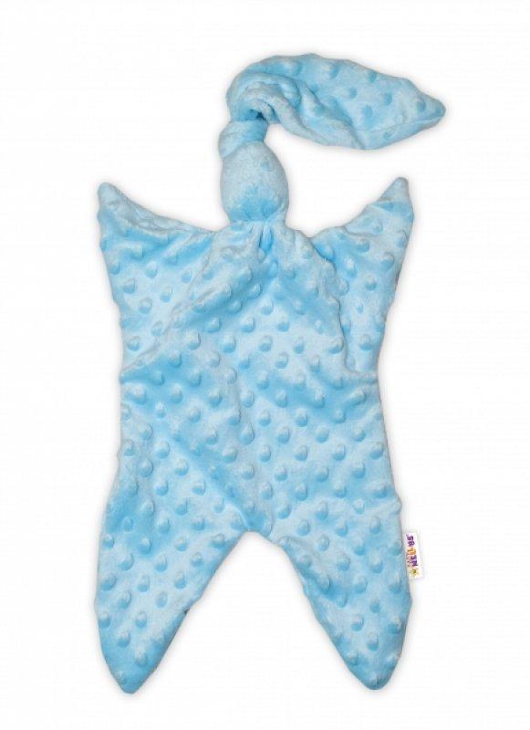 Baby Nellys Mazlík, přítulníček minky Uzlík 43x25 cm - modrý