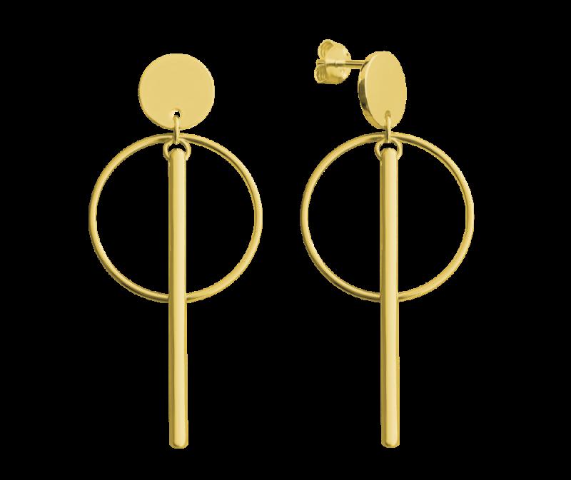 Pozlacené stříbrné kruhové náušnice s tyčkami